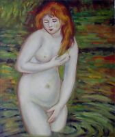 Quality Oil Painting Repro Renoir, Pierre-Auguste The Bather 20x24in