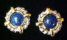 Avon Pierced Earrings 1997 Cable Blue Stone 2 tone Surgical Steel New in Box