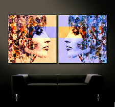 POP ART DOUBLE VISION 69 Leinwand Bild über Sofa Kunstdruck Blau Orange XL Neu