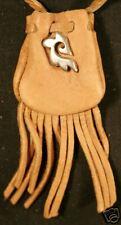 Maori Tribal design medicine bag - buckskin draw bag