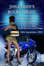 10 PERSONALISED BUCKS NIGHT, SAVE THE DATE, BIRTHDAY PARTY INVITATIONS + MAGNETS