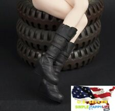 1/6 women shoes black Slope high heeled combat Boots for phicen hot toys ❶USA❶