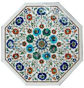15 Inches Marble Coffee Table Top Inlay End Table with Multicolor Gemstones Work