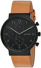 Skagen Original SKW6359 Men's Ancher Black Dial Tan Leather Watch 40mm