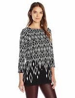 New NWT Rafaella Women's Black White Diamond Print Tunic Shirt Top Sizes S M L