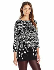4764e0b973d8c New NWT Rafaella Women s Black White Diamond Print Tunic Shirt Top Sizes S  M L