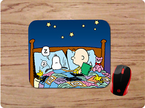 CHARLIE BROWN & SNOOPY IN BED CUSTOM PC MOUSE PAD DESK MAT HOME SCHOOL OFFICE