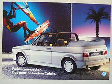 """Prospekt Volkswagen VW Golf I Cabrio """"Frühlingserwachen"""", ca.1987, 2 Seiten"""