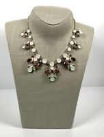 Sparkly Statement Necklace Gold Tone Collar Length & Faceted Crystals Pretty