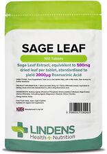 Sage Leaf 500mg - 100 Tablets - [Lindens 0243]