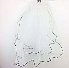 Davids Bridal Modern Veil 2 Tier David's 447 White Black Cord Trim Classic