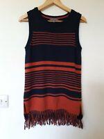 Laura Ashley Merino & Alpaca Wool Blend Tassel Fringe Tunic Jumper Top Size 8