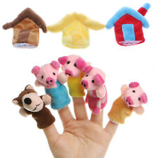 8Pcs Kids Baby Three Little Pigs Finger Puppets Kids Educational Hand Story Toys