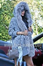 NEW 2017 SWEATER SILVER FOX FUR HOOD CLAS SABLE MINK JACKET VEST COAT CHINCHILLA
