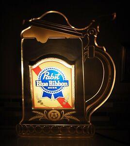 Vintage Pabst Blue Ribbon Lighted Edge Beer Mug  Stein Bar Man Cave Sign 1980's