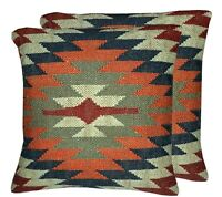 2 Set of Indian Hand Woven Kilim Jute Cushion Cover Pillows Case Cushion 1052-B