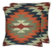 Indian Hand Woven Kilim Cushion Cover 2 Pcs Jute Pillow Case 18x18 Rug Cushion