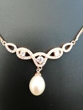 Freshwater pearl and cz set in rose gold necklace