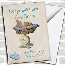 Pretty Vintage Blue Baby Boy Brother On Scales Sibling Customised Card