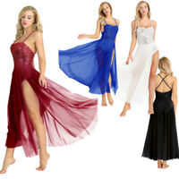 Womens Adult Sleeveless Sequined Ballet Leotard Dance Bodysuit Dress Gymnastics