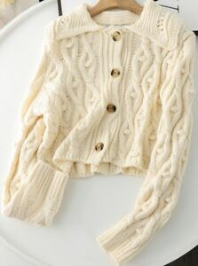 ZARA ECRU CROPPED CABLE CROCHET KNITTED RIBBED CARDIGAN WITH POM POMS BOBBLES