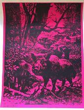 Vtg 1971 Optique Studios Boar Head Shop Psychedelic Black Light Poster (20x26)