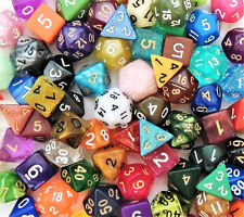100 Random Polyhedral Dice – Assorted Colors D4 D6 D8 D10 DT10 D12 D20 – RPG