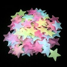 100 LEUCHTSTERNE BUNT Selbstklebend Nachtleuchtend Wandtattoo Sticker Nacht Star