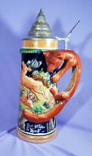 Beer Stein Figure Fox Handle Pewter Lid Stag Boar Hunting Antique Germany EUC