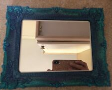 beautiful blue/purple ornate handmade resin mirror NEW 10.5 inches x 8.5 inches