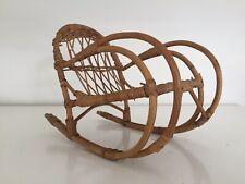 Vintage Wicker Willow Woven Dolls Bear Rocking Chair