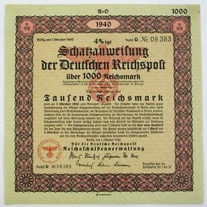 GERMANY Deutsche Reichspost / German State Post 1000 Reichsmark 1940 Bond *