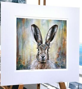 'Hughie' Hare in woods portrait mounted 50 x 50cm, painted by Julia Pankhurst