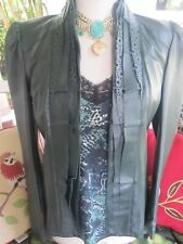 BAGATELLE Emerald Green Genuine Leather Laser Cut Ruffle Front Jacket M-Perfect!