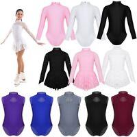 Kids Girls Ice Skating Dress Gymnastics Leotards Dance Ballet Tutu Skirt Costume