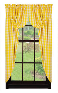 Olivia's Heartland Picnic Yellow plaid pattern fabric window PRAIRIE CURTAIN