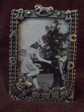 Picture Frame 4 X 6 Children's Heavy Pewter Abcd Rocking Horse Train Track 123