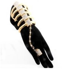 Gold Tone Clear Rhinestone Bones Stretch Bracelet Attached to Stretch Ring