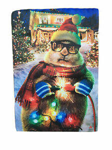 Christmas Lights Chipmunk Garden Flag Double Sided Suede Evergreen 18x12.5 NEW