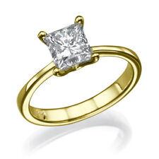 18k Yellow Gold Clarity Enhanced Princess Diamond Engagement Rings