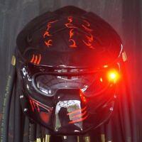 Custom Predator Wolf Helmet Glossy Black Motorcycle Helmets Casco Novelty : M,L