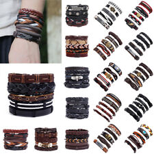 Punk Mens Wide Leather Braided Multilayer Bracelet Wristband Cuff Bangle Jewelry