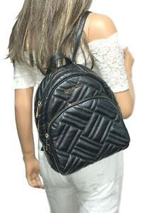MICHAEL KORS ABBEY MEDIUM BACKPACK QUILTED GENUINE LEATHER BLACK GOLD