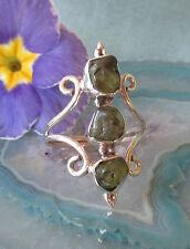 Ring Sterling Silber 925 Olivin Peridot grün Stein der Sonne 3 Natursteine