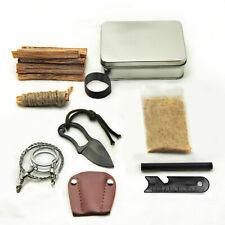 Bushcraft Pocket Survival Tin Fatwood Hand Cut in USA Ferro Rod Saw Knife