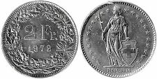 Monnaie Suisse / Switzerland 2 francs 1972 cu/nickel (mc29075)