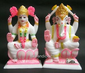 09 Inches Best Home Decor Gift Multi Shades Laxmi Ganesh Statue from Cottage Art