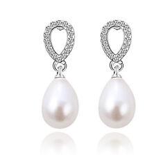 Gold Or Silver White Pearl Teardrop Shape Luxury Wedding Bridal Earrings E1194