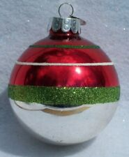 Christopher Radko Green Red Silver Glittered Round Glass Christmas Ornament B1