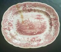 ANTIQUE RIDGWAYS STAFFORDSHIRE RED pink TRANSFERWARE PLATTER CALEDONIA 14 3/4""